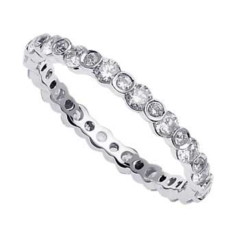 1.15ct TCW  White Diamonds 14K White Gold  Diamond Women's Comfort Fit Ring (2.5mm)