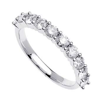 1.1ct TCW  White Diamonds 14K White Gold  Diamond Women's Comfort Fit Ring (2.5mm)