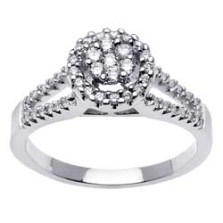 .44ct TCW  White Diamonds 14K White Gold  Cluster   Engagement Ring
