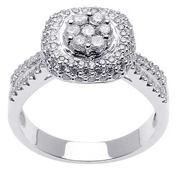.90ct TCW  White Diamonds 14K White Gold  Cluster   Engagement Ring