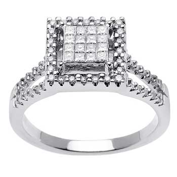 .50ct TCW  White Diamonds 14K White Gold  Cluster   Engagement Ring