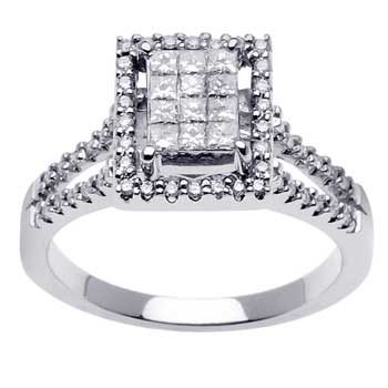 .65ct TCW  White Diamonds 14K White Gold  Cluster   Engagement Ring