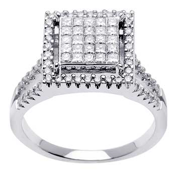 .95ct TCW  White Diamonds 14K White Gold  Cluster   Engagement Ring