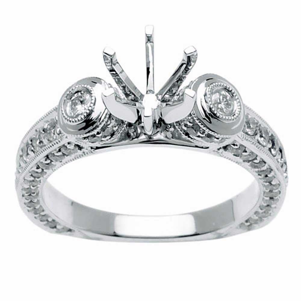 1.1ct TCW  White Diamonds 14K White Gold  Semi Mount   Engagement Ring