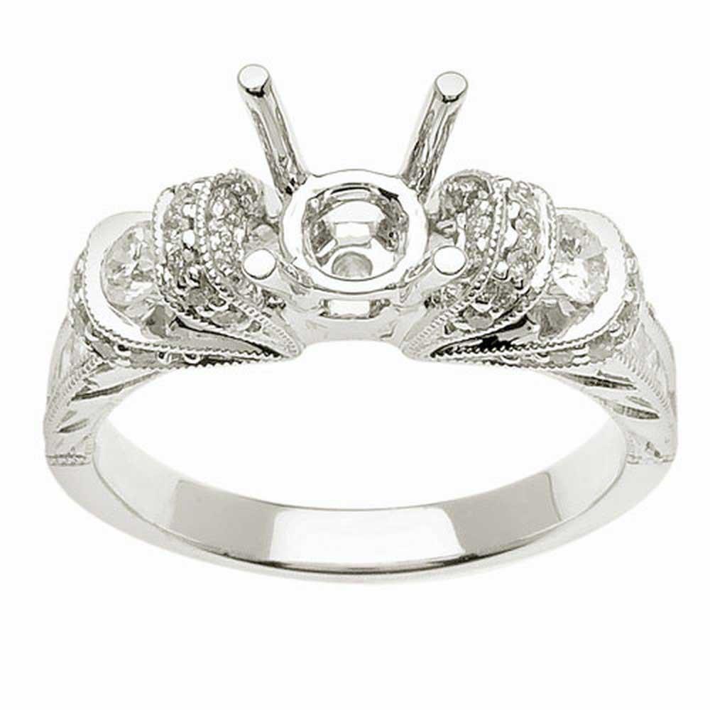 .70ct TCW  White Diamonds 14K White Gold  Semi Mount   Engagement Ring