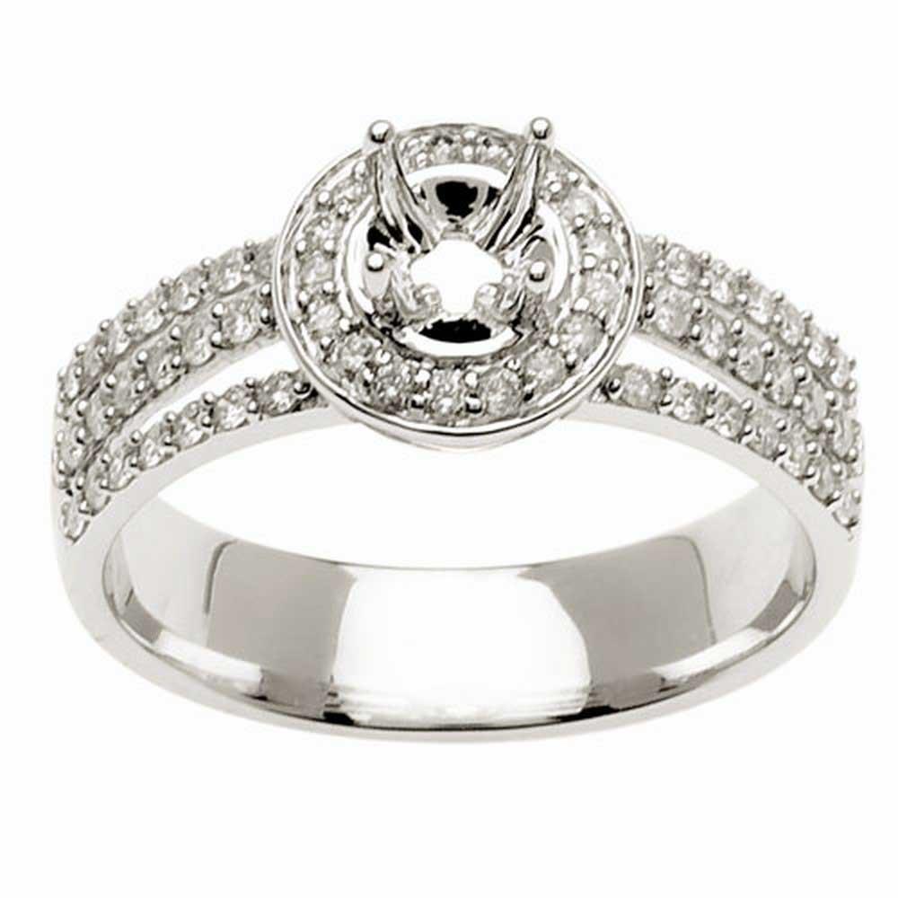 .45ct TCW  White Diamonds 14K White Gold  Semi Mount   Engagement Ring