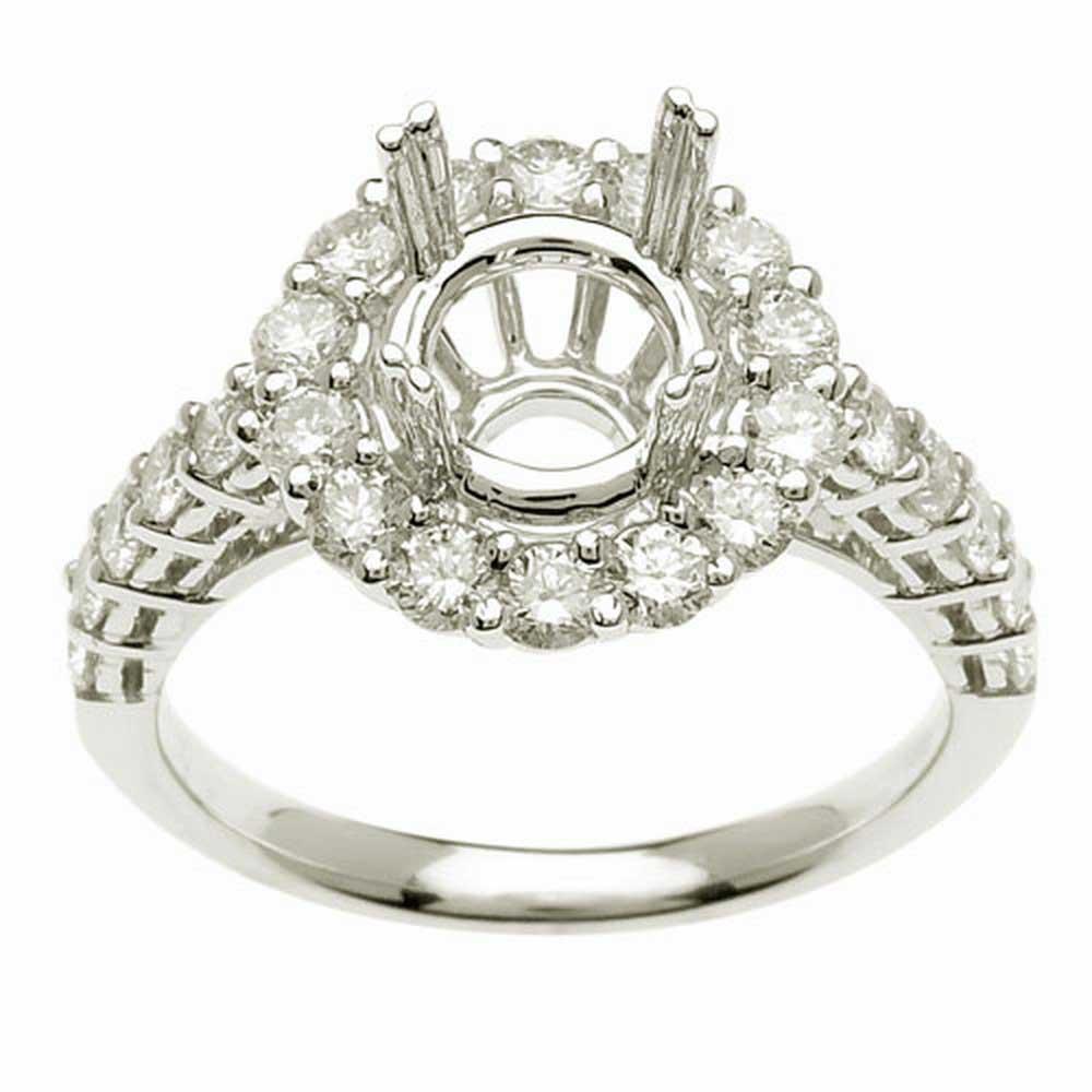 1.15ct TCW  White Diamonds 14K White Gold  Semi Mount   Engagement Ring