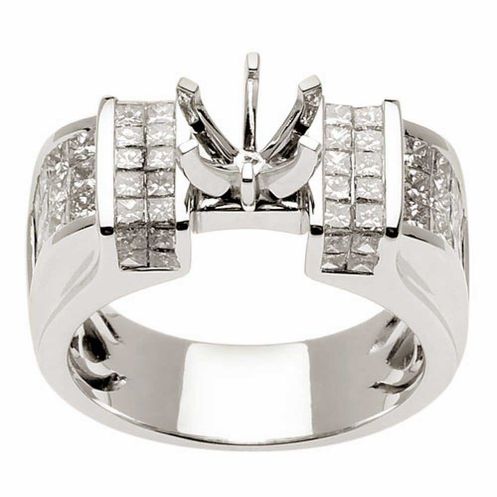 2.01ct TCW  White Diamonds 14K White Gold  Semi Mount   Engagement Ring