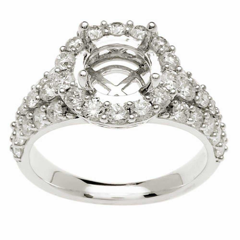 1.45ct TCW  White Diamonds 14K White Gold  Semi Mount   Engagement Ring