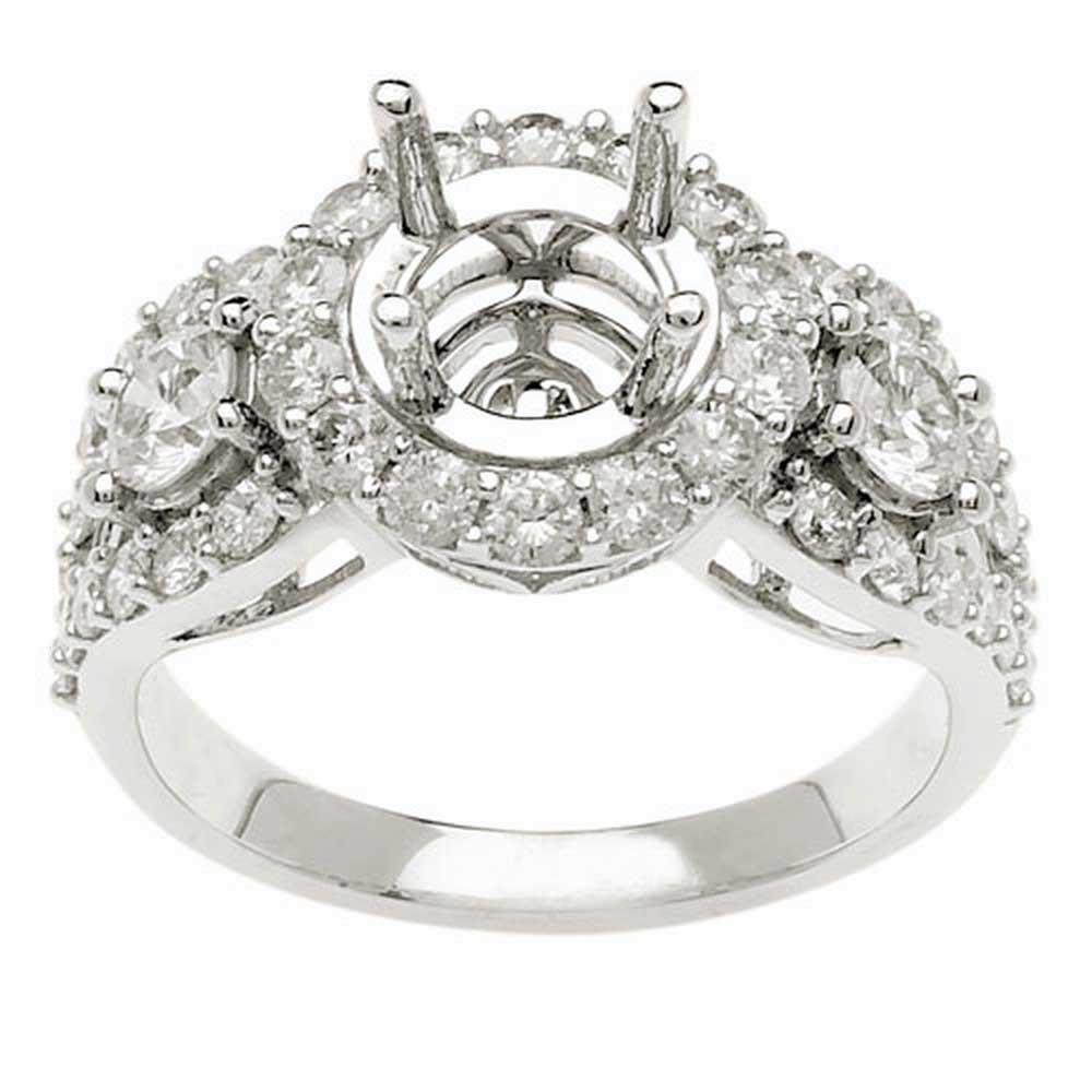 1.55ct TCW  White Diamonds 14K White Gold  Semi Mount   Engagement Ring
