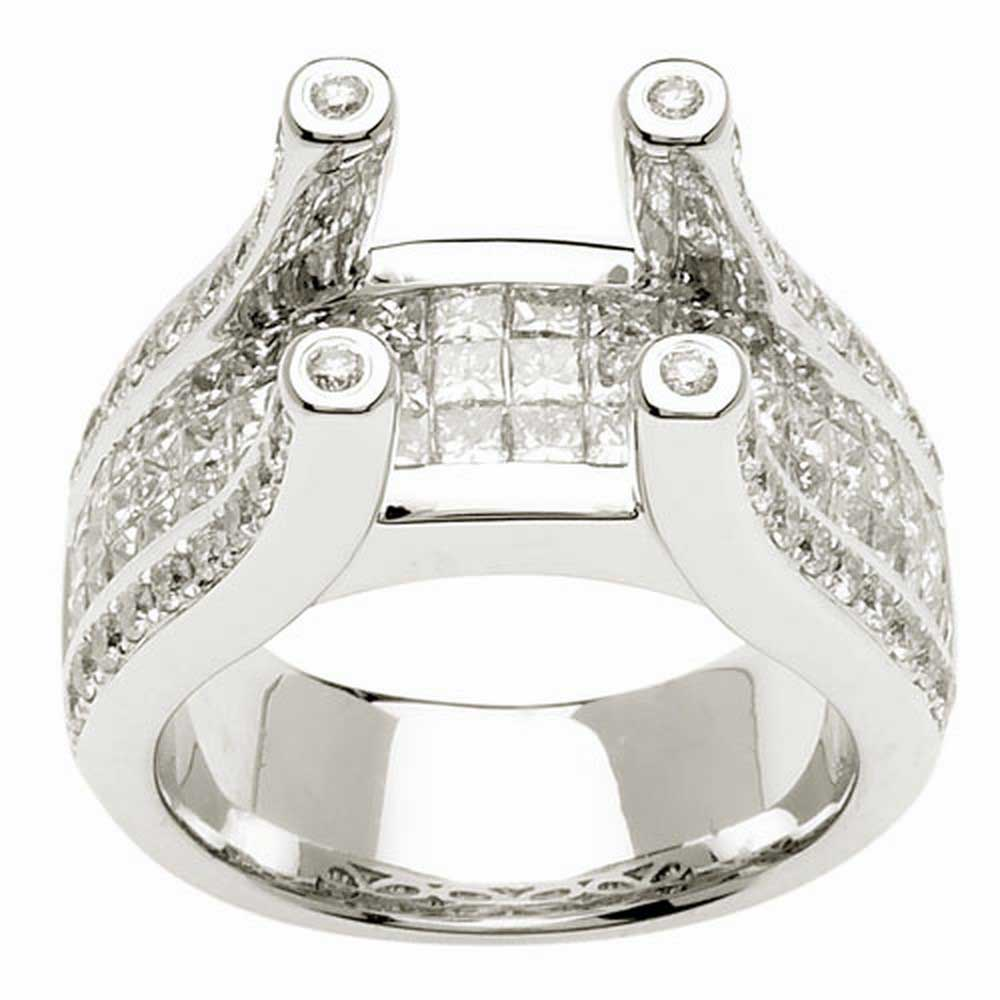 .70ct TCW  White Diamonds 14K White Gold  Cluster   Engagement Ring