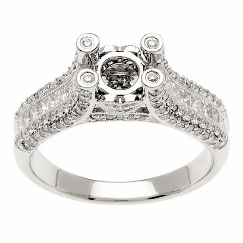 1.00ct TCW  White Diamonds 14K White Gold  Semi Mount   Engagement Ring