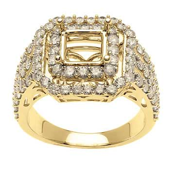 1.55ct TCW  White Diamonds 14K Yellow Gold  Semi Mount   Engagement Ring