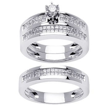 2.1ct TCW  White Diamonds 14K White Gold  Trio   Matching Set  of Engagment Ring, His and Hers Band