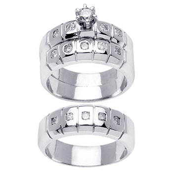 1.1ct TCW  White Diamonds 14K White Gold  Trio   Matching Set  of Engagment Ring, His and Hers Band