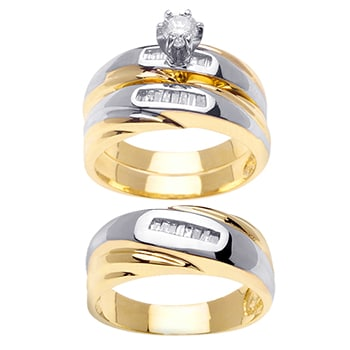 .86ct TCW  White Diamonds 14K Two Tone Gold  Trio   Matching Set  of Engagment Ring, His and Hers Band