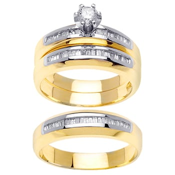 1.45ct TCW  White Diamonds 14K Two Tone Gold  Trio   Matching Set  of Engagment Ring, His and Hers Band