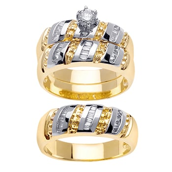 1.25ct TCW  White Diamonds 14K Two Tone Gold  Trio   Matching Set  of Engagment Ring, His and Hers Band
