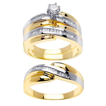 1.04ct TCW  White Diamonds 14K Two Tone Gold  Trio   Matching Set  of Engagment Ring, His and Hers Band