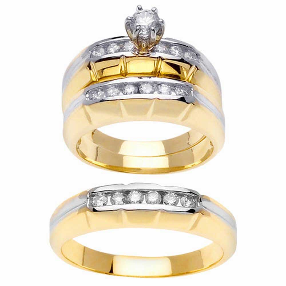 1.15ct TCW  White Diamonds 14K Two Tone Gold  Trio   Matching Set  of Engagment Ring, His and Hers Band