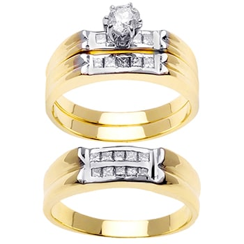 .98ct TCW  White Diamonds 14K Two Tone Gold  Trio   Matching Set  of Engagment Ring, His and Hers Band