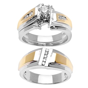 .59ct TCW  White Diamonds 14K Two Tone Gold  Trio   Matching Set  of Engagment Ring, His and Hers Band