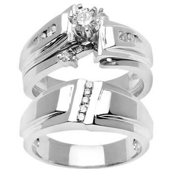 .95ct TCW  White Diamonds 14K White Gold  Trio   Matching Set  of Engagment Ring, His and Hers Band