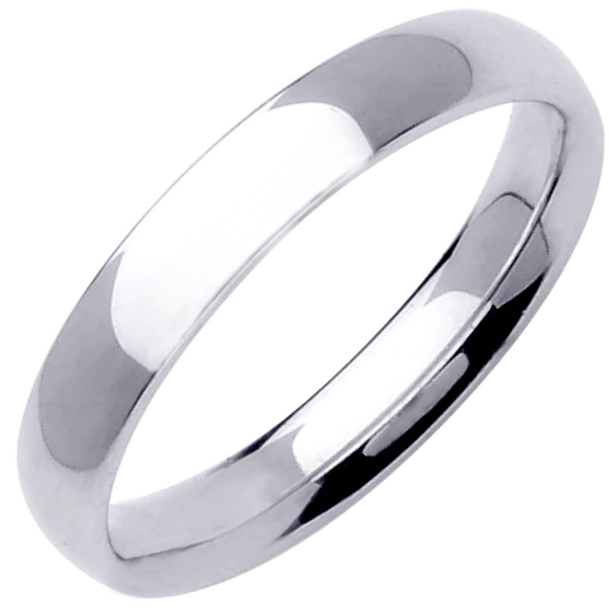 14K White Gold Dome Plain Unisex Comfort Fit Band (4mm)