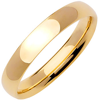 14K Yellow Gold Dome Plain Unisex Comfort Fit Band (4mm)