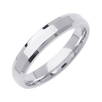 18K White Gold Top Flat Plain Unisex Comfort Fit Beveled Band (4mm)