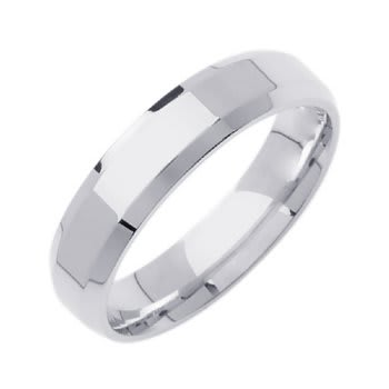 14K White Gold Top Flat Plain Unisex Comfort Fit Beveled Band (5mm)