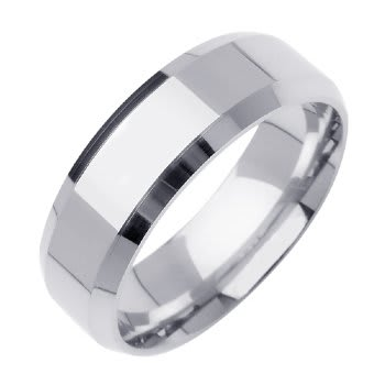 14K White Gold Top Flat Plain Unisex Comfort Fit Beveled Band (7mm)