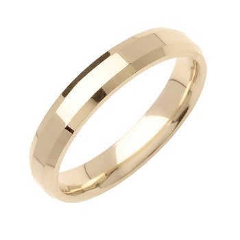 14K Yellow Gold  Unique Unisex Comfort Fit Beveled Band (4mm)