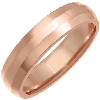 14k Rose Gold Flat Design Beveled-edge Comfort-fit Wedding Bands (5mm)