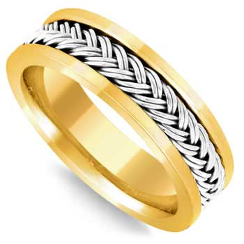 14K Two Tone Gold French Braid Men's Comfort Fit Band (6mm)