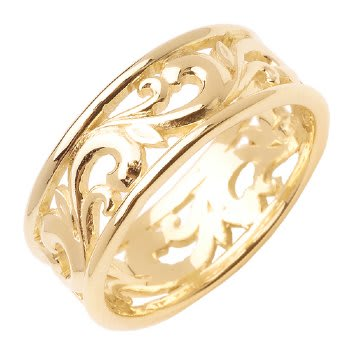 14K Yellow Gold Paisley Floral Unisex Comfort Fit Band (8.5mm)