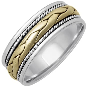 14K Two Tone Gold Patterns Braid Unisex Comfort Fit Band (8mm)