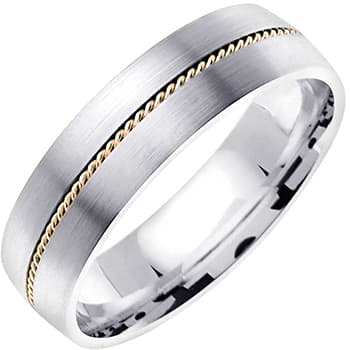 14K Two Tone Gold Rope Braid Unisex Comfort Fit Band (6mm)