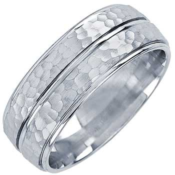 14K White Gold Two Stripes Unique Unisex Comfort Fit Band (8mm)