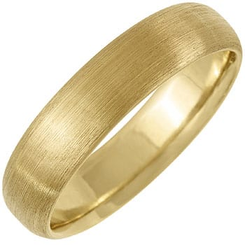 14k Yellow Gold Brushed Dome Plain Comfort-fit Wedding Bands (5mm)