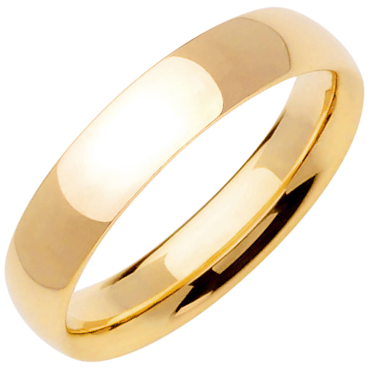 14K Yellow Gold Dome Plain Unisex Comfort Fit Band (5mm)