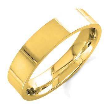 14K Yellow Gold Top Flat Plain Unisex Comfort Fit Band (5mm)