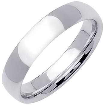 14K White Gold Dome Plain Unisex Comfort Fit Band (5mm)