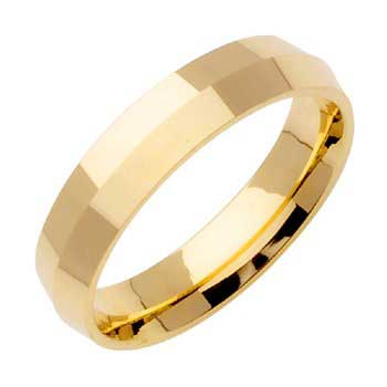 14K Yellow Gold Knife Edge Plain Unisex Comfort Fit Band (5mm)
