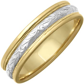 14K Two Tone Gold Paisley Floral Unisex Comfort Fit Band (5mm)