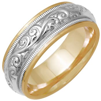 14K Two Tone Gold Paisley Floral Unisex Comfort Fit Band (7.5mm)