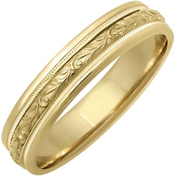 14K Yellow Gold Paisley Floral Unisex Comfort Fit Band (5mm)