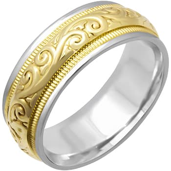 14K Two Tone Gold Paisley Floral Unisex Comfort Fit Beveled Band (7.5mm)