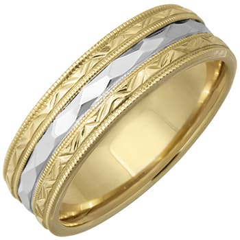 14K Two Tone Gold Carved Unique Unisex Comfort Fit Band (6mm)