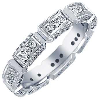 14K White Gold Eternity Diamond Women's Comfort Fit Ring (3.6mm)